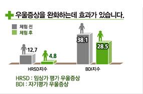우울증상을 완화하는데 효과가 있습니다. HRSD지수(임상평가 우울증상)가 체험전:12.7이고 체험후는 4.8으로 낮아졌으며 BDI지수(자기평가 우울증상)는 체험전은38.1 이고 체험후는 28.5로 낮아짐