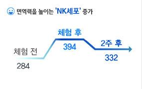 면역력을 높이는 NK세포 증가 체험전284 체험후는 394 2주후는 332