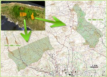 서귀포 시험림(1,550ha)은 제주도 서귀포시 동홍 상효동에 위치하며 표고는 450~1,000m 중산간이고 연평균강우량은 1,770mm이다(난대림보육과 장기생태연구 / 채종원 및 지역 시험) 또한 한남 시험림(1,191ha)은 제주도 서귀포시 남원 하례에 위치하며 표고는 350~700m 산록이고 연평균강우량 : 3,000mm이다(SFM을 위한 모델림 조성)